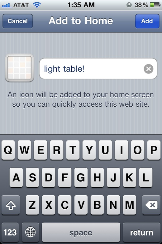 light-table homescreen